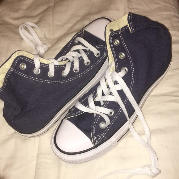 Converse Shoes - navy blue high-top converse size: 6.5
